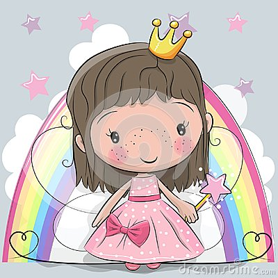 Cute Cartoon fairy tale Princess fairy Vector Illustration
