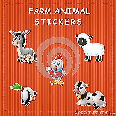 Free Cute Cartoon Farm Animals On Sticker Stock Image - 123868261