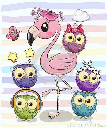 Cute Cartoon Flamingo and five owls Vector Illustration