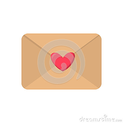 Free Cute Cartoon Flat Love Envelope Icon. Vector Illustration Royalty Free Stock Image - 88766846