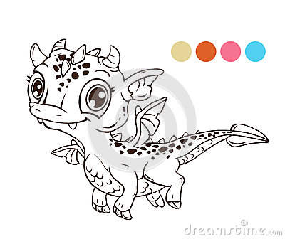 Cute Cartoon Flying Baby Dragon Stock Illustration Image