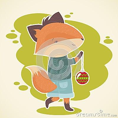 Cute cartoon fox celebration card