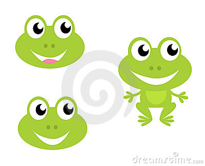 Cute cartoon frog icons isolated on white
