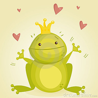 Cute cartoon frog prince