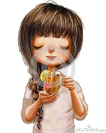 Free Cute Cartoon Girl Stock Photo - 79840590