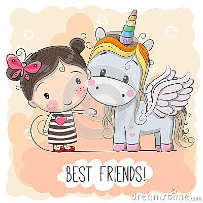 Free Cute Cartoon Girl And Unicorn Stock Photography - 93123102