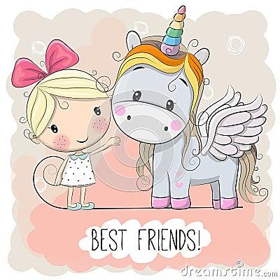 Free Cute Cartoon Girl And Unicorn Stock Image - 93123121