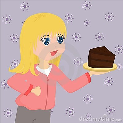 Cute Cartoon Girl with Cake