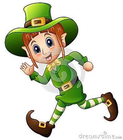 Free Cute Cartoon Girl Leprechaun Running Royalty Free Stock Images - 89110609