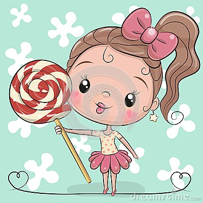 Cute Cartoon Girl with Lollipop Vector Illustration