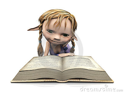 Stock Photo: Cute cartoon girl reading book.