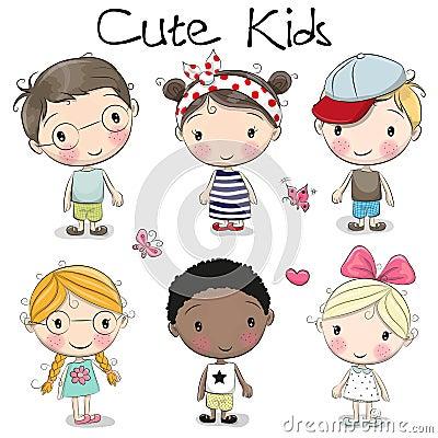 Cute cartoon girls and boys Vector Illustration