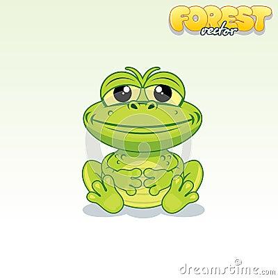 Free Cute Cartoon Green Frog. Funny Vector Animal Royalty Free Stock Photo - 70094655