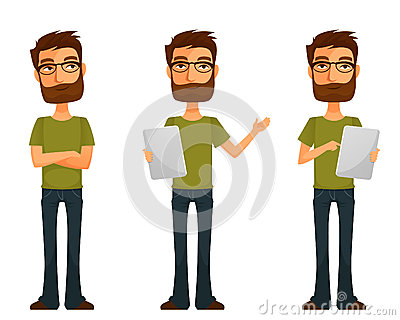 Cute cartoon guy with beard and glasses