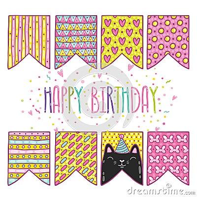 Cute cartoon happy birthday holiday flags with cat