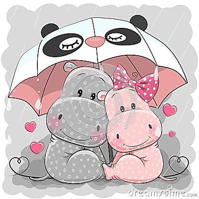 Free Cute Cartoon Hippos With Umbrella Royalty Free Stock Photo - 103475075