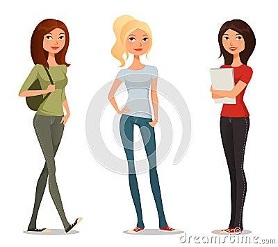 Free Cute Cartoon Illustration Of Teenage Girls Royalty Free Stock Images - 44405619