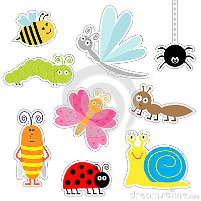 Free Cute Cartoon Insect Sticker Set. Ladybug, Dragonfly, Butterfly, Caterpillar, Ant, Spider, Cockroach, Snail. Isolated. Flat Design Royalty Free Stock Photos - 56345558