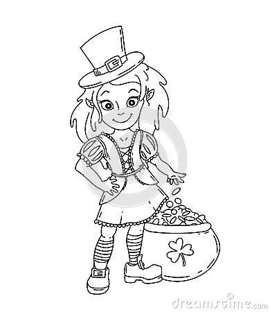 Free Cute Cartoon Irish Leprechaun Girl With The Pot Of Gold Royalty Free Stock Images - 86962779