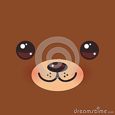 Free Cute Cartoon Kawaii Funny Brown Bear Muzzle With Pink Cheeks And Big Eyes. Vector Stock Image - 99092581