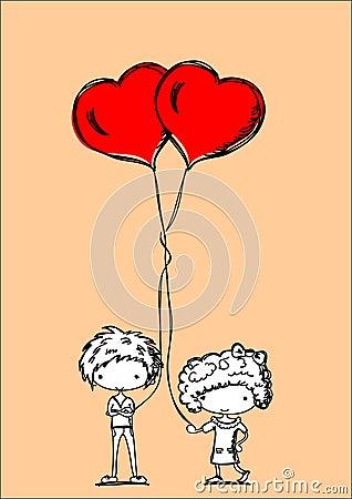 Cute cartoon kids with balloons,vector
