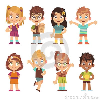 Cute cartoon kids set. Children girls boys standing kid portraits happy teens group funny preschool child characters Vector Illustration