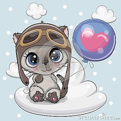 Cute Cartoon Kitten boy with Balloon Vector Illustration