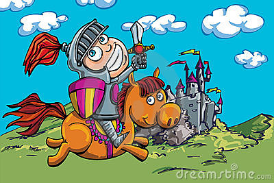 Cute cartoon knight on a horse