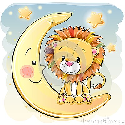 Free Cute Cartoon Lion On The Moon Stock Photos - 103474533