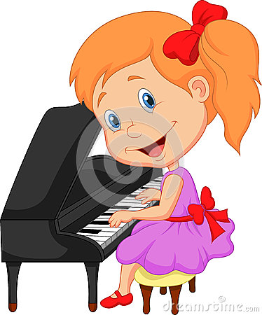 Cute Cartoon Little Girl Playing Piano Stock Photography
