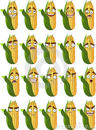 Cute cartoon maize smile with many expressions