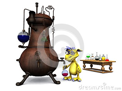 Cute cartoon monster in his chemistry lab.