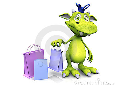 Cute cartoon monster holding shopping bag.