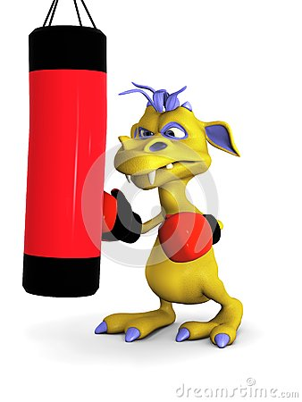 Cute cartoon monster punching a heavy bag.