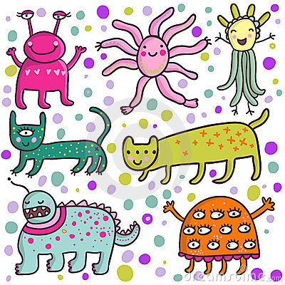 Free Cute Cartoon Monsters Stock Images - 8725234