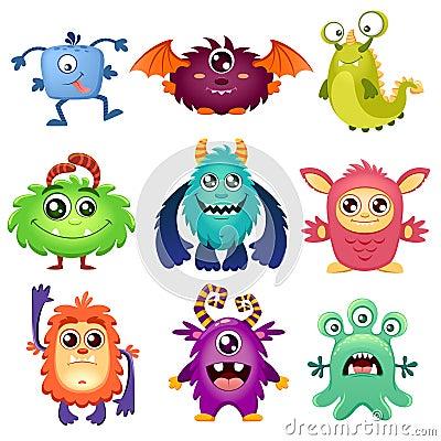 Free Cute Cartoon Monsters Royalty Free Stock Image - 95553186