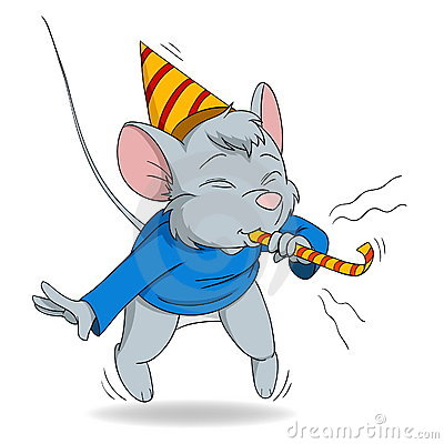 Cute Cartoon Mouse Blow In Fife Royalty Free Stock Image