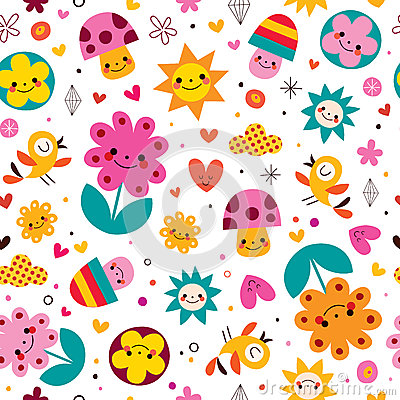 Free Cute Cartoon Mushrooms, Flowers, Hearts & Birds Nature Seamless Pattern Stock Photo - 44302950