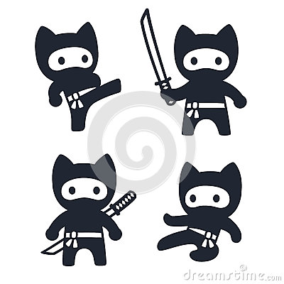 Free Cute Cartoon Ninja Cat Set Royalty Free Stock Photography - 89671067