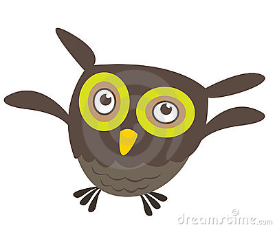 Cute cartoon owl flying