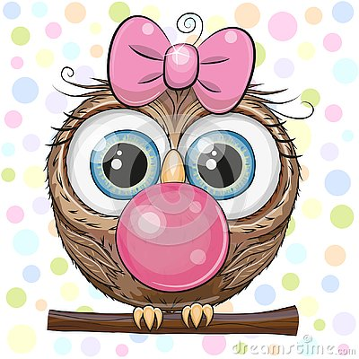 Free Cute Cartoon Owl With Bubble Gum Stock Images - 125515784