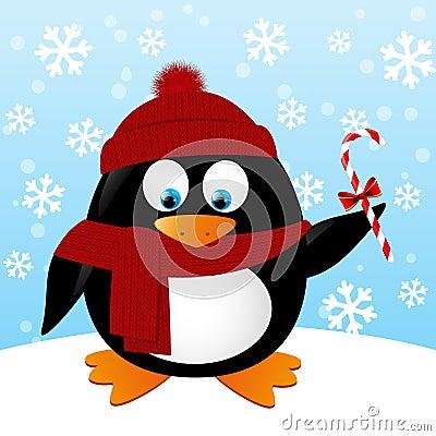 Cute Cartoon Penguin On Winter Background Stock Vector ...