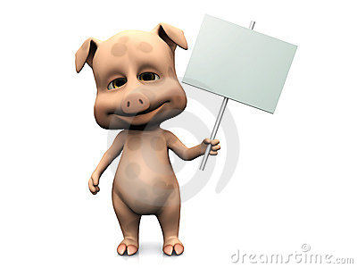 Cute cartoon pig holding blank sign.