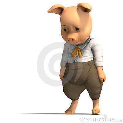 Free Cute Cartoon Pig With Clothes Royalty Free Stock Image - 10466756