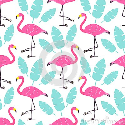 Free Cute Cartoon Pink Flamingos And Green Tropical Leaves Isolated On White Background. Vector Seamless Pattern Can Be Used For Poster Royalty Free Stock Images - 109039659