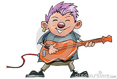 Cute cartoon punk rocker with guitar