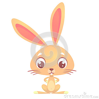 Free Cute Cartoon Rabbit. Farm Animals. Vector Illustration Of A Bunny. Mock Up For Print Decoration Isolated On White Stock Photo - 95439920