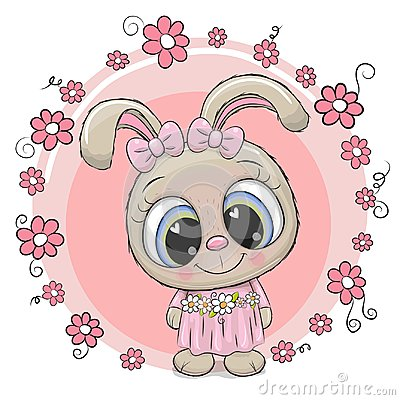 Free Cute Cartoon Rabbit With Flowers Stock Photography - 123892122
