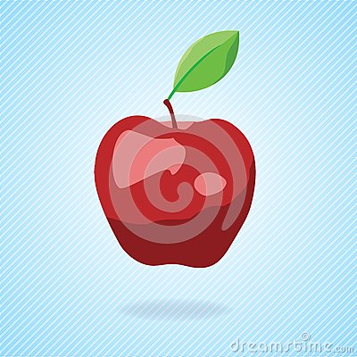Cute cartoon red apple. Vector illustration