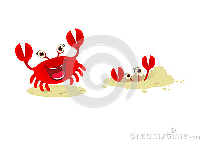 Cute cartoon red crab,